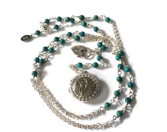 Vintage Locket Necklace, Silver Picture Locket, Rosary Style Necklace, Padlock Charm Necklace, Picture Pendant, Turquoise Necklace, UK Shop