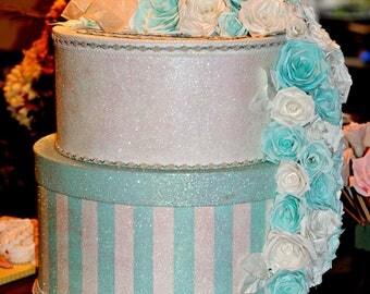 Shabby Chic Wedding Card Box, Paper Rose Wedding Box, Sweet 16, Quinceanera Card Box, Birthday Party Card Box, Baby Shower Card Box