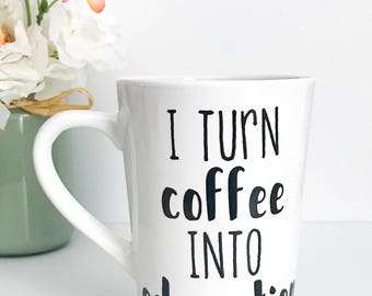 CLEARANCE, I turn coffee into education, 14oz coffee mug, Imperfect mug, teacher mug, teacher gift, back to school,coffee cup,mug