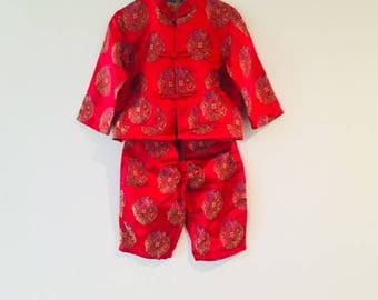 Vintage Bright Red Asian Short and Pant Set / Toddler Silk Girls Boys Unisex Size 2T 3T