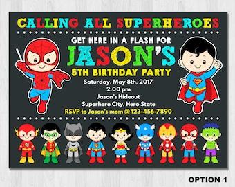Superhero Invitation, Superhero Birthday Invitation, Super hero invitation, Superhero invitation printable, Superhero Boy Invitation