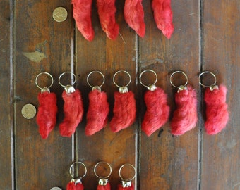 RED Humanely Farmed REAL Rabbit's foot Durable key chains with keyring;  NO clasps.