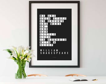 THE TEMPEST, Instant Download, Shakespeare Printable, Shakespeare, We are such stuff as dreams are made on, Shakespeare Quotes