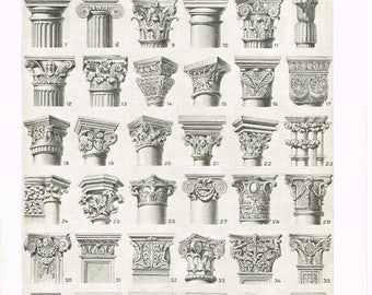 Original Black and White Vintage French Larousse Print Lithograph Architectural architecture Capitals CHAPITEAUX 1920s Monochrome Book Plate