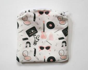 Pink Ladies Zipper Bag - Pencil Case - Makeup Pouch - Cosmetic Case