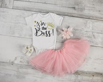 I'm The Boss Custom Baby One Piece Toddler Tee T Shirt Romper Shower Coming Home Birthday Funny Infant Sweet Cute Funny Little Girl Sassy