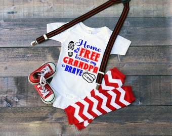 U.S. Air Force Home of the Free because my Grandpa is Brave Baby Shower Idea Girl Boy Toddler Clothes Romper Shirt Coming Home Veterans Day