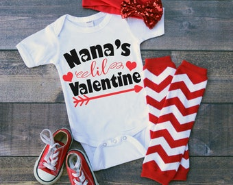 Nana's Lil Valentine Funny  Bodysuit or T-Shirt for Baby Toddler Kid Newborn Babies Shower Coming Home Gift Idea Creeper Present Cute Day