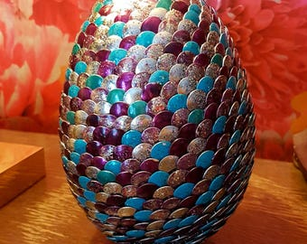 Handmade Extra Large Dragon Egg -Turquoise, Purple, Silver, Glitter Game of Thrones Harry Potter Lord of the Rings Geek Gift Easter Birthday