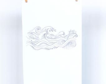Ocean Wave Black and White Line Drawing- A5 and A4 available