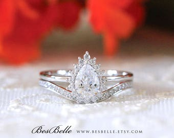 1.18 ct.tw Pear Halo Bridal Set Ring-Pear Cut Diamond simulant-Bridal Ring-Wedding Ring-Solid Sterling Silver [65466-2]