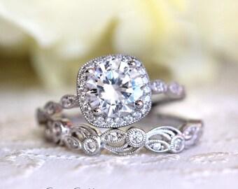 2.20 ct.tw Art Deco Bridal Set Ring-Halo Engagement Ring w/ Leaf & Vine Vintage Wedding Ring-Elegant Matched Set-Sterling Silver [65360-2A]