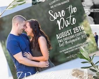 Save the Date Postcard, Multiple Photos, Custom Photo Save the Date, Save The Date Photo Postcard, Calligraphy Save the Date, Modern Wedding
