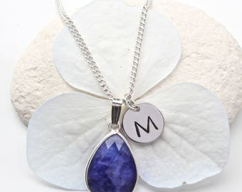 Sapphire Pendant Necklace - Sapphire (Dyed) Necklace - Personalised September Birthstone Necklace - Sapphire Initial Jewelry Jewellery  A43