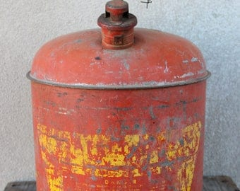 Vintage 5 Gallon Metal Oil Gas Can With Handle Orange Yellow Rustic Industrial