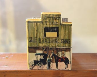 Vintage Old West Main Street Salt and Pepper Caddy With One Shaker Enesco 1980