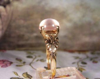 Art Nouveau Moon Stone Ring, 14K Gold Ring, Moon Stone Ring, Pinkish Lavender Moon Stone, Feathered Metal Design, Antique Ring, Size 7.75