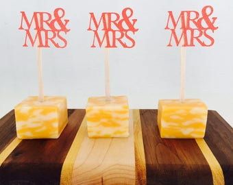 15 Mr and Mrs Appetizer Picks - Food Picks - Wedding - Wedding Reception - Engagement Party - Bridal Shower - Married - Party