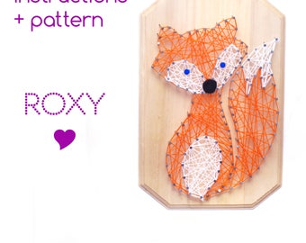 String art Pattern + Instructions - Fox DIY template, String art Fox, cabin decor, Download String Art Pattern, Woodland décor