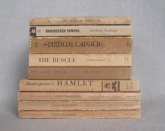 Vintage Beige Paperback Book Bundle, Shabby Book Set, Decorative Books
