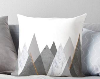 Mountains Pillow, Marble Pillow, Black Marble, Minimalist Pillow, Scandinavian  pillows, Geometric