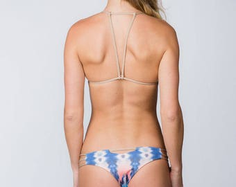 Cheeky Bikini Bottom  - Desert Tie-dye print reversible to solid shiny beige