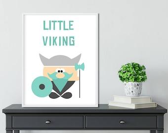 Little Viking, Nursery Print, Poster, Baby Room Decor, Wall Art