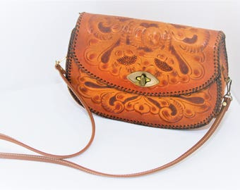 Hand Tooled Leather Purse, Shoulder Bag Vintage, Tooled Leather Bag, Floral Tooled Leather Shoulder Bag