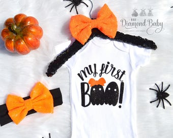 My First Boo Outfit- First Halloween Outfit- Baby Girl Halloween Outfit- Fall Outfit- First Boo Day Outfit- Baby Costume- Baby Girl Costume