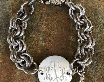 Bracelet, silver, monogrammed, engraved, sorority, greek letters, ( Bella Bracelet)