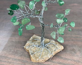 Jade Gemstone Bonsai/Tree of Life Wire Sculpture, Gemstone Tree