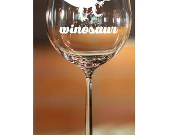 Winosaur~ Stemless Wine Glasses~ Etched glasses~ Engraved Glasses~ Custom Glasses~ Personalized Wine Glasses~ Wine Glasses Personalized