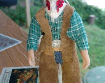 OOAK hand sculpted miniature doll cowboy senior citizen