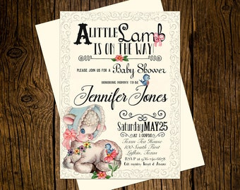 Little Lamb Baby Shower Invitations Personalized Custom Printed Set of 12 Party Invites Vintage Ecru Pink