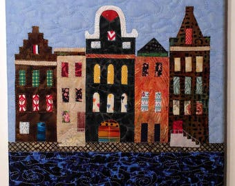Art quilt with 5 canal houses