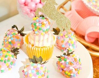 Unicorn Cupcake Toppers | Glitter Unicorn | Unicorn Party | Unicorn Birthday | Unicorn Party Decor | Unicorn Toppers | Unicorn Decor