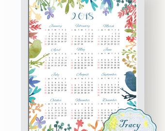 SALE! Printable Wall Calendar, Instant Download 2018 Wall Calendar, Flower Wall Calendar 2018, Digital Floral Calendar 2018 0507