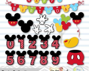 Instant Download Digital M Mouse Clipart, Mickey Birthday Party Clip Art, Mickey Numbers Clipart, Mickey Balloon, Mickey Banner, 0167