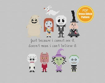 The Nightmare Before Christmas Cross stitch Pattern - Jack Skellington - Halloween - PDF Instant Download