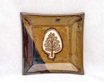 Stoneware pottery square plate/ dish, brown and dark blue glaze, tree stamp appliqué, tree plate, square tree plate, tree pottery