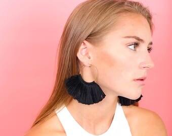 Fanned Black Tassel Hoop Earrings, Black Tassel Earrings, Tassel Earrings, Hoop Earrings, Hoops, Black hoops, Tassels, Black Earrings