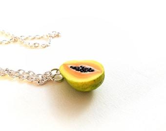 Papaya Charm Necklace/ Earrings