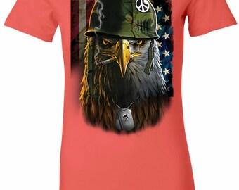 Ladies Shirt American Eagle Longer Length Tee T-Shirt 21017D2-6004