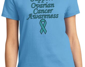 Ladies Support Ovarian Cancer Awareness Tee T-Shirt SOCA-LPC61