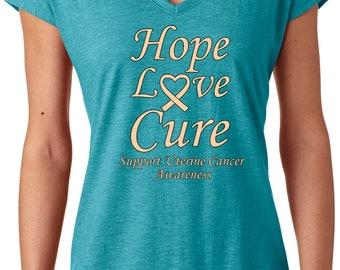 Ladies Hope Love Cure Support Uterine Cancer Awareness Tri-Blend V-Neck Shirt HLC-SUCA-6750VL