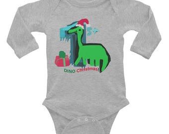1st Dino Christmas Infant Long Sleeve Bodysuit