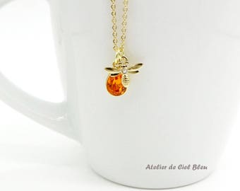 Bee Necklace, Honey Bee Necklace, Swarovski Crystal, Topaz Necklace, Gold Plated Bumble Bee Necklace, Bee Charm Necklace, Gift for Bee Lover