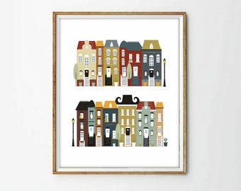houses illustration, houses print,4 SIZES INCLUDED,houses printable, city print, cityscape print, digital illustration,nursery decor