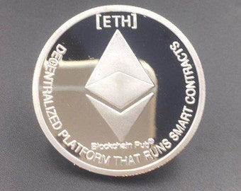 SILVER PLATED Ethereum Coin Commemorative COLLECTIBLE Crypto Cryptocurrency Gifts