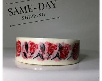 Red rose washi tape roll - Red roses - Washi roll